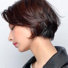 ショート コンサバ グレージュ ハンサムショート ヘアスタイルや髪型の写真・画像