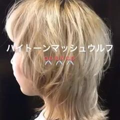 モード マッシュ 色気 ミディアム ヘアスタイルや髪型の写真・画像