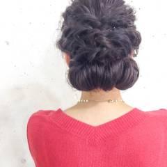 アップスタイル ストリート 結婚式 編み込み ヘアスタイルや髪型の写真・画像