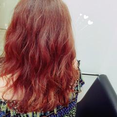 波ウェーブ ウェットヘア カッパー オレンジ ヘアスタイルや髪型の写真・画像