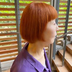 オレンジ アプリコットオレンジ ミニボブ モテボブ ヘアスタイルや髪型の写真・画像