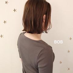 ミニボブ ナチュラル 切りっぱなしボブ 大人かわいい ヘアスタイルや髪型の写真・画像