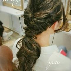ハーフアップ くるりんぱ 編み込み ヘアアレンジ ヘアスタイルや髪型の写真・画像