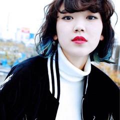 グラデーションカラー インナーカラー 黒髪 ピュア ヘアスタイルや髪型の写真・画像