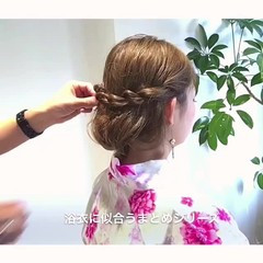 夏 お祭り 花火大会 ナチュラル ヘアスタイルや髪型の写真・画像