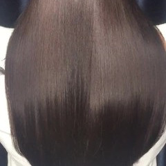 パーマ ロング 縮毛矯正 暗髪 ヘアスタイルや髪型の写真・画像