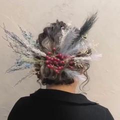 セミロング 成人式 ヘアアレンジ パーティヘア ヘアスタイルや髪型の写真・画像
