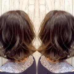 ナチュラル ボブ ハイライト グラデーションカラー ヘアスタイルや髪型の写真・画像