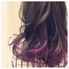 グラデーションカラー ブリーチ ゆるふわ ヘアマニュキュア ヘアスタイルや髪型の写真・画像
