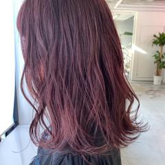 ベリーピンク ラベンダーピンク ガーリー セミロング ヘアスタイルや髪型の写真・画像