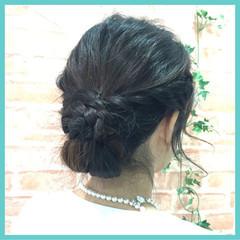 フェミニン 結婚式 ヘアアレンジ セミロング ヘアスタイルや髪型の写真・画像