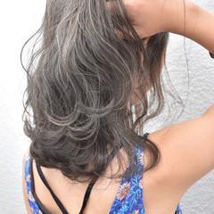グレージュ ボブ ハイライト アッシュベージュ ヘアスタイルや髪型の写真・画像