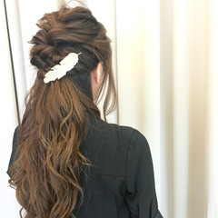 結婚式 編み込み ハーフアップ ロング ヘアスタイルや髪型の写真・画像