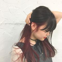 インナーカラー アッシュ セミロング ストリート ヘアスタイルや髪型の写真・画像