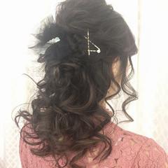 ヘアアレンジ セミロング エレガント ハーフアップ ヘアスタイルや髪型の写真・画像