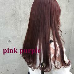 ピンク コーラル ロング ラベンダーピンク ヘアスタイルや髪型の写真・画像