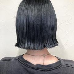 ボブ デニム ネイビーカラー モード ヘアスタイルや髪型の写真・画像
