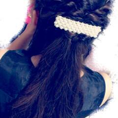 ハーフアップ 大人かわいい ロング パーティ ヘアスタイルや髪型の写真・画像