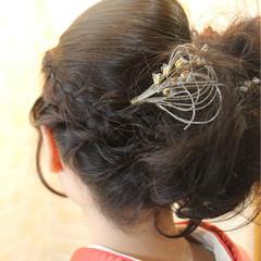 ナチュラル 成人式 編み込み ヘアアレンジ ヘアスタイルや髪型の写真・画像