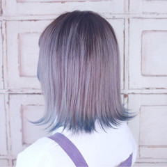 シルバー ストリート ブリーチ ブルー ヘアスタイルや髪型の写真・画像