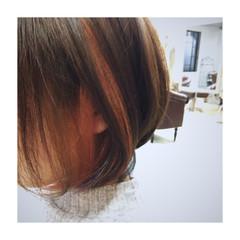 ストリート ボブ オレンジ メッシュ ヘアスタイルや髪型の写真・画像