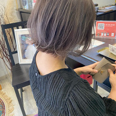 ラベンダーグレージュ ナチュラル ボブ ダブルカラー ヘアスタイルや髪型の写真・画像