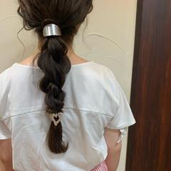 ロング ヘアアレンジ 編みおろしヘア ナチュラル ヘアスタイルや髪型の写真・画像