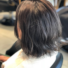 グレージュ 暗髪 透明感 ボブ ヘアスタイルや髪型の写真・画像