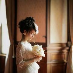 結婚式 ゆるふわ ガーリー 外国人風 ヘアスタイルや髪型の写真・画像