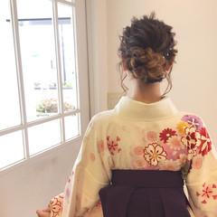 謝恩会 学校 ガーリー 袴 ヘアスタイルや髪型の写真・画像
