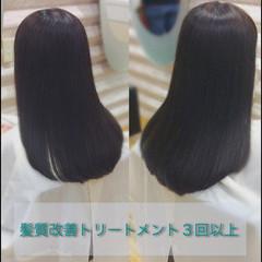 セミロング 髪質改善トリートメント ナチュラル 髪質改善カラー ヘアスタイルや髪型の写真・画像