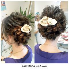 編み込み ロング ヘアアレンジ ヘアアクセ ヘアスタイルや髪型の写真・画像