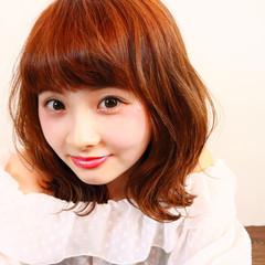 ロブ ワイドバング ミディアム ひし形 ヘアスタイルや髪型の写真・画像