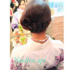 和装 和服 編み込み 袴 ヘアスタイルや髪型の写真・画像