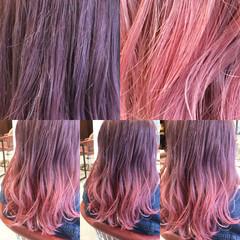 グレージュ セミロング ピンク ラベンダーアッシュ ヘアスタイルや髪型の写真・画像