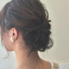 大人かわいい ミディアム 結婚式 ナチュラル ヘアスタイルや髪型の写真・画像