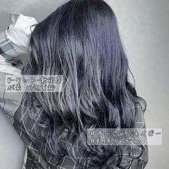 セミロング バレイヤージュ なんちゃって黒染め 透明感カラー ヘアスタイルや髪型の写真・画像