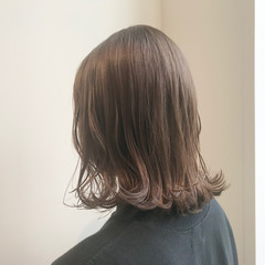 透明感カラー ナチュラル ボブ ミルクティーアッシュ ヘアスタイルや髪型の写真・画像