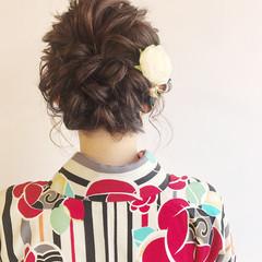 成人式 フェミニン ヘアアレンジ セミロング ヘアスタイルや髪型の写真・画像