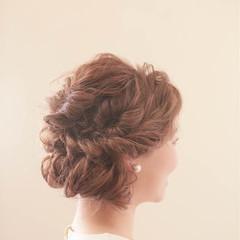 ヘアアレンジ セミロング 結婚式 大人かわいい ヘアスタイルや髪型の写真・画像