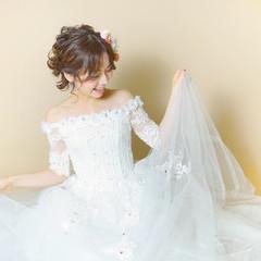 ヘアアレンジ ボブ 結婚式 フェミニン ヘアスタイルや髪型の写真・画像