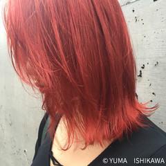 レッド オルチャン ロブ ストリート ヘアスタイルや髪型の写真・画像