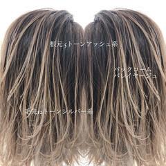 バレイヤージュ 外国人風カラー ミディアム ブリーチ必須 ヘアスタイルや髪型の写真・画像