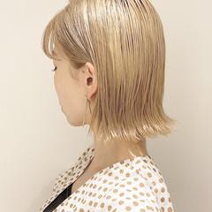 切りっぱなしボブ ボブ ミニボブ ハイトーン ヘアスタイルや髪型の写真・画像