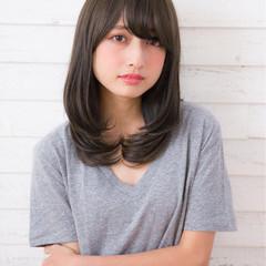 大人女子 前髪あり ミディアム ナチュラル ヘアスタイルや髪型の写真・画像