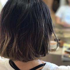 パーマ 前髪パッツン グラデーションカラー ボブ ヘアスタイルや髪型の写真・画像