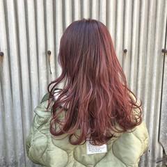 デート 赤髪 ガーリー ロング ヘアスタイルや髪型の写真・画像