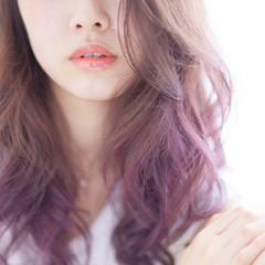 ロング ストリート ピンク パープル ヘアスタイルや髪型の写真・画像