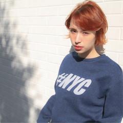 ガーリー オレンジ ハイトーン 透明感 ヘアスタイルや髪型の写真・画像