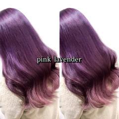 ヘアカラー ガーリー ピンクパープル ピンクアッシュ ヘアスタイルや髪型の写真・画像